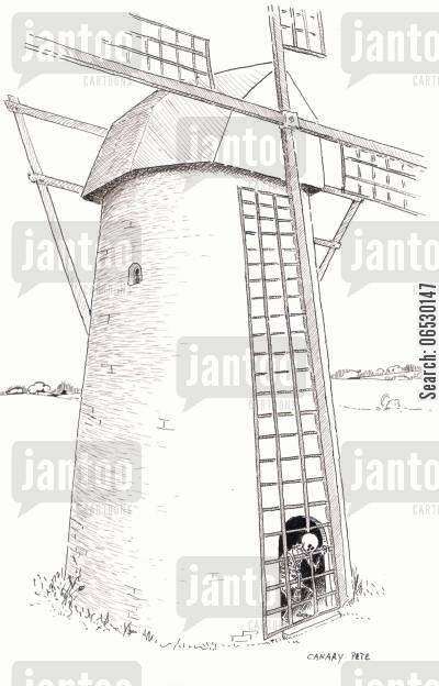 calm cartoon humor: No wind - miller trapped in windmill.