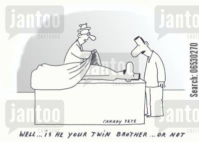 identical cartoon humor: Well.. is he your twin brother ... or not?
