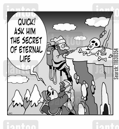 mountain man cartoon humor: Quick! Ask him the secret of eternal life. (Man is dead).