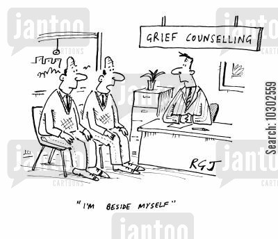 heartache cartoon humor: 'Grief counselling'