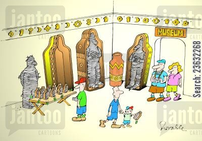 retailing cartoon humor: Museum - Mummy as a sales assistant.