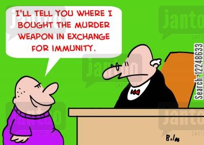murder weapon cartoon humor: 'I'll tell you where I bought the murder weapon in exchange for immunity.'