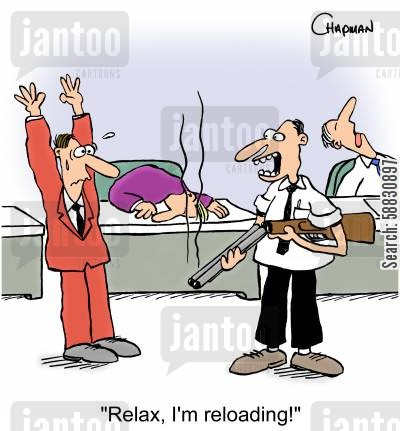 rampaged cartoon humor: 'Relax, I'm reloading!'