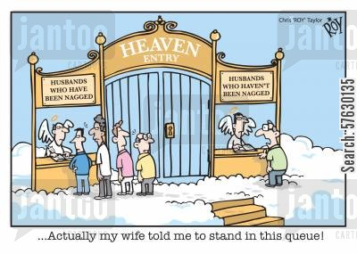 henpecked husband cartoon humor: '...Actually my wife told me to stand in this queue!'