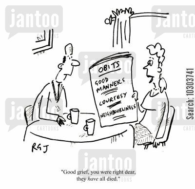 newspaper articles cartoon humor: 'Good grief, you were right, dear, they have all died.'