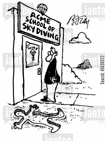 fatal accident cartoon humor: Man standing outside of skydiving school looking at imprint of body on ground.