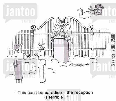 terrible cartoon humor: 'This can't be paradise - the reception is terrible!'