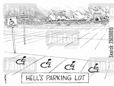 damned cartoon humor: Hell's parking lot.