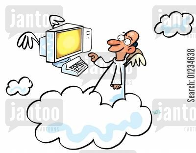 afterlife cartoon humor: Pc who art in heaven.