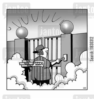 delivery boy cartoon humor: Pizza delivery to heaven.