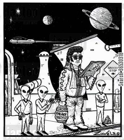 conspiracy theory cartoon humor: Elvis on a alien Planet.