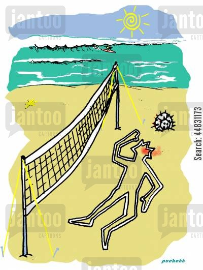 sports players cartoon humor: A volleyball player has suffered from a 'spiked' ball . . .only the chalk outline remains,
