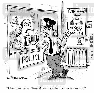 crime suspects cartoon humor: 'Dead, you say? Blimey! Seems to happen every month!'