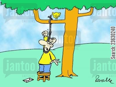 suicide attempts cartoon humor: 'Bird defacating on a suicide attempt,'