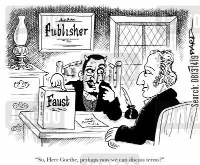 goethe cartoon humor: 'So, Herr Goethe, perhaps now we can discuss terms?'