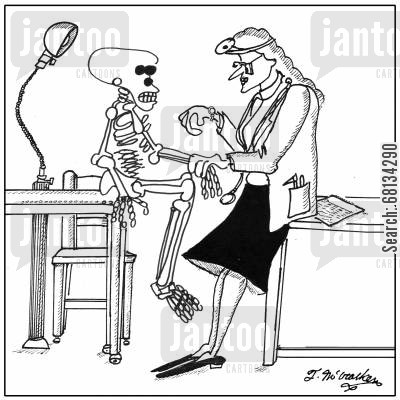 heartbeats cartoon humor: A doctor checks the pulse of skeleton.