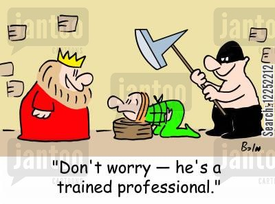 trained professionals cartoon humor: 'Don't worry -- he's a trained professional.'
