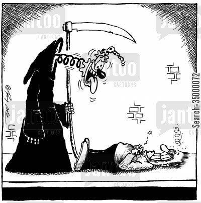 humorous cartoon humor: Grim Reaper has a sense of humour