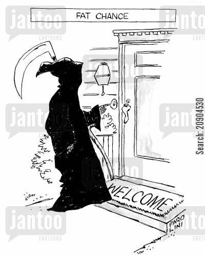 rang cartoon humor: Fat chance - The Grim Reaper ringing the doorbell.