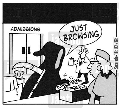 admission cartoon humor: Grim Reaper browsing files in the hospital.