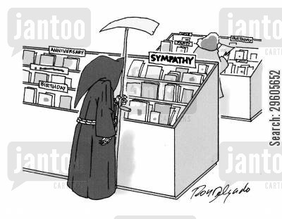 shopped cartoon humor: Death is card shopping.