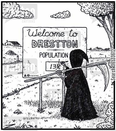 population cartoon humor: The Grim Reaper updating a town's population sign.