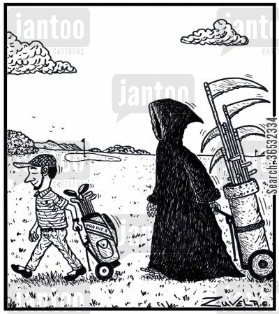 bunkers cartoon humor: A golfer unknowingly being stalked by the Grime Reaper pulling his special range of scythes.