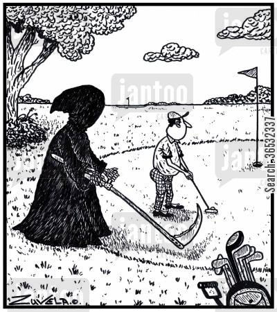 golf green cartoon humor: A golfer sizing up his putt, with the Grim Reaper sizing up the golfer.