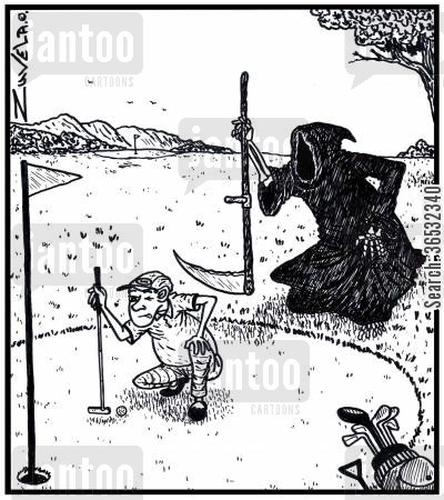 golf green cartoon humor: A golfer lining up his putt, with the Grim Reaper lining up the golfer.