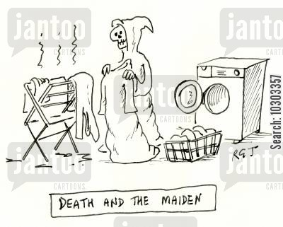 doing laundry cartoon humor: Death and the Maiden.