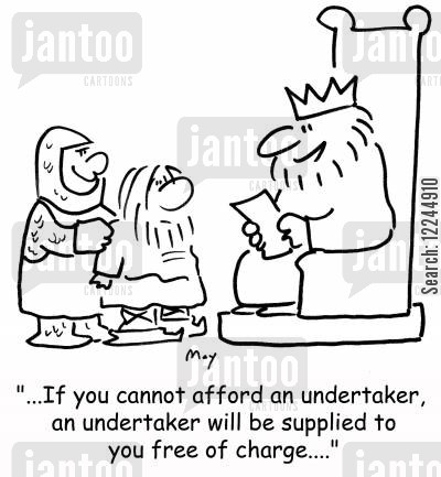 reading rights cartoon humor: 'If you cannot afford an undertaker, an undertaker will be supplied to you free of charge....'