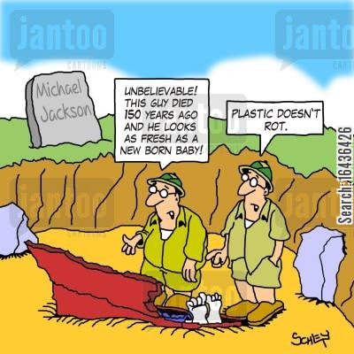 decompose cartoon humor: 'Plastic doesn't rot.'