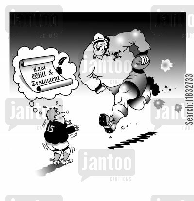 team sport cartoon humor: Last Will and Testament.