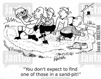 archaeologist cartoon humor: 'You don't expect to find one of those in a sand-pit!'