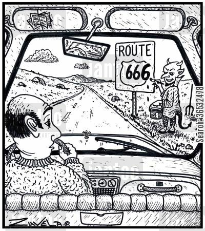 route 66 cartoon humor: Route 666.