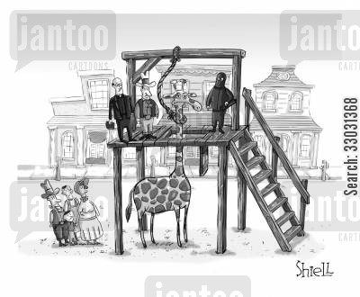 noose cartoon humor: Hanging a giraffe.