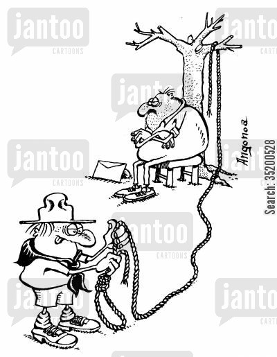 scout cartoon humor: Boy scout kindly knotting a suicidal man's rope