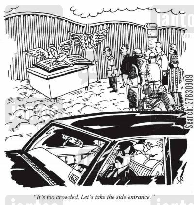 magnate cartoon humor: 'It's too crowded, Let's take the side entrance,'