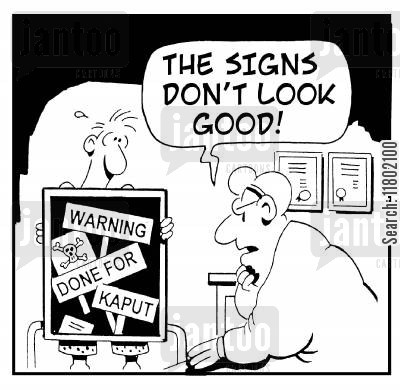 good omens cartoon humor: 'The signs don't look good!'