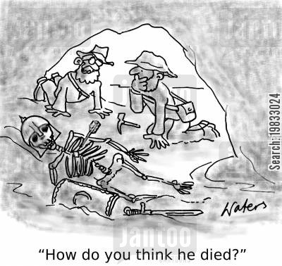cod cartoon humor: 'How do you think he died?'