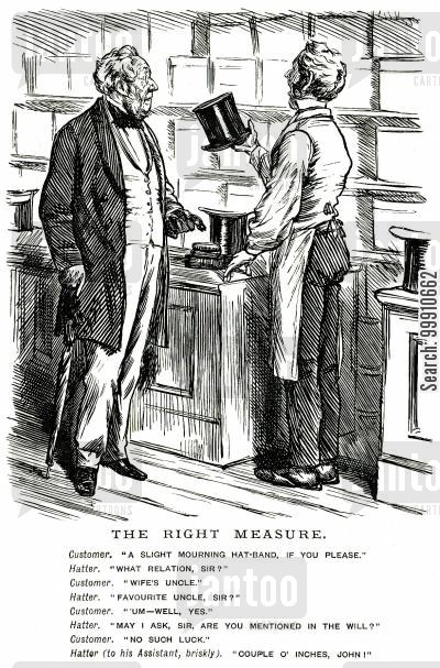 slight mourning cartoon humor: Man buying a mourning-band from a hatter