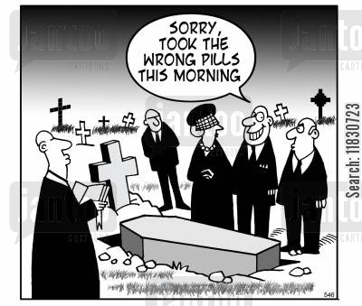 grieve cartoon humor: Sorry, took the wrong pills this morning.