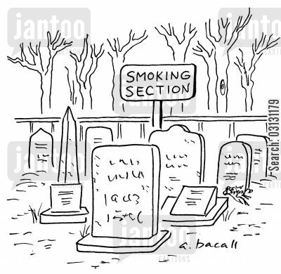 smoking section cartoon humor: Smoking section of graveyard.