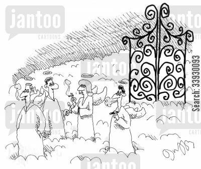smoking bans cartoon humor: Smoking outside the Pearly Gates.