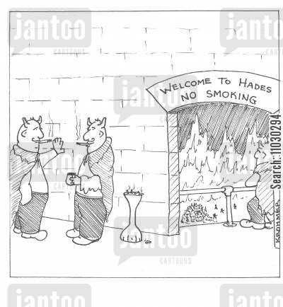 smoking bans cartoon humor: Welcome to Hades - No Smoking.