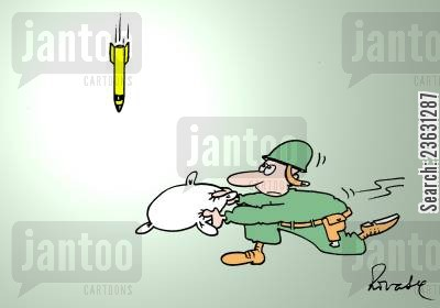 nuclear missiles cartoon humor: Soldier trying to catch bomb with a cushion