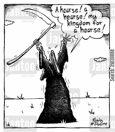 classic literature cartoon humor: 'A hearse! a hearse! my kingdom for a hearse!'