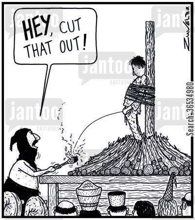 death sentences cartoon humor: Executioner: 'HEY, cut that out!'