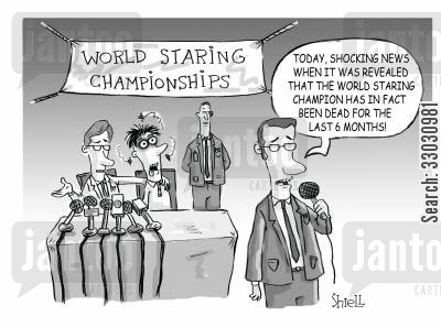 media hype cartoon humor: Scandal at the World Staring Championships.
