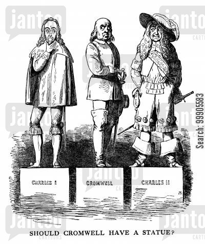 memorial cartoon humor: The Debate as to whether Cromwell should have a statue